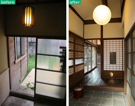 【画像1】左:暗く狭かった玄関。木製のガラス戸は雰囲気があるものの、セキュリティ面が不安だった。右:広さ3倍で吹抜けも設け、縦横に開放感のある空間に。右手の玄関収納の引き戸には、旧家の玄関ガラス戸を利用。(写真撮影/左:長井純子・右:片山貴博)