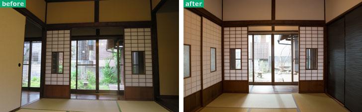 【画像2】左:和室の左手は襖で開放可能、右手は床の間があり閉ざされていた。 右:左手の襖を旧家の別場所で使われていた障子に変更。右手の引き戸を開放して隣の空間とつなげることも可能に(写真撮影/左:長井純子・右:片山貴博)