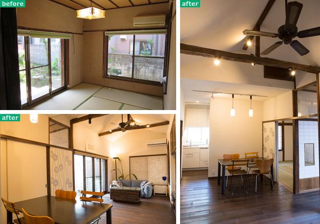 【画像3】左上:庭に面した6畳間は、独立した個室として機能していた。左下:6畳間の壁や柱を取り払って空間を繋げ、吹抜けにして小屋裏の梁も見せて大空間に。右:LDKは引き戸で和室や廊下とも一体化できる(写真撮影/左上:長井純子・左下、右:片山貴博)