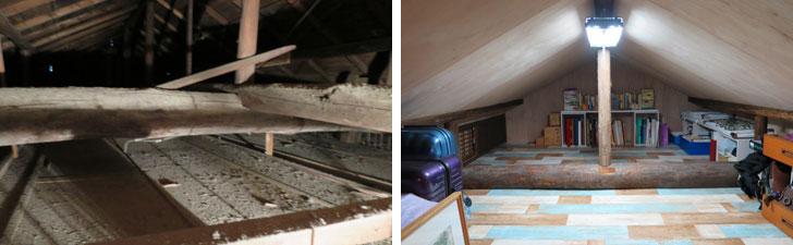 【画像4】左:工事前に和室の押入れの天井板を外して撮影した一枚。天井裏は陽の目を見ることなく、暗く埃だらけの空間だった。右:天井は低いながら最も立派な丸太梁がある6畳を全て収納に。左奥には古い建具を利用してリビングにつながる換気用の小窓も設けた(写真撮影/長井純子)