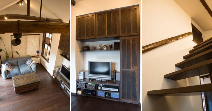 【画像1】左:小屋裏収納の換気用小窓から見下ろしたリビング。梁の存在感が際立つダイナミックな空間に。中:築200年超の家にあった一枚板の建具を加工してリビング収納の扉に。風合いを生かし現代によみがえらせる建具屋さんの力作。右:小屋裏収納入口の小さな引き戸は、リビング収納にも使った一枚板戸。手すりは実際小屋裏にあった梁を利用(写真撮影/片山貴博)