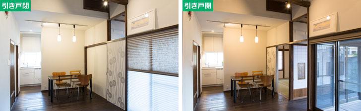 【画像2】左:引き戸を全て閉じた状態の14畳のLDK。廊下に繋がる引き戸の上部は透明なガラスを組み込み、光は通しながら空気は逃がさず、暖冷房効率良く。右:引き戸を開けた状態。廊下、和室、庭や縁側と一体化した大空間が広がる(写真撮影/片山貴博)
