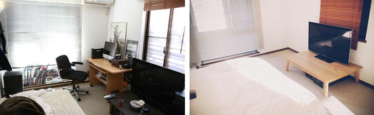 【画像10】左:断捨離ブームを機に少しずつ物を手放して、物があふれた部屋を脱したころ。右:ミニマリストとして覚醒。机、ソファ等の大型家具や本をすべて処分(写真:佐々木典士さん)