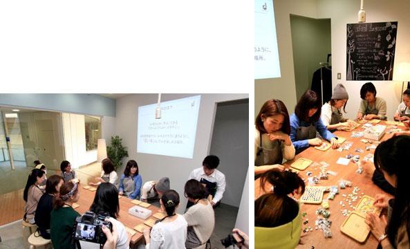 【画像2】記者発表イベントでは2つの体験レッスンが行われた。こちらは「タイルでつくるモザイク鍋敷き」コース。おしゃべりしながら、小さなタイルを敷きつめてオリジナルの模様をつくっていく(写真撮影/井村幸治)