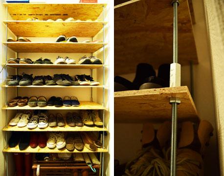 【画像2】ニッショー.jp賃貸DIY部に投稿された作品。1mの長ネジ8本と木材を使用して、玄関につくった靴棚。スペースを天井まで有効活用している。制作時間約2時間(画像提供/ニッショー.jp)