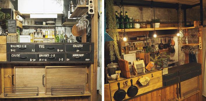 【画像5】カラーボックスを土台にして、周りに板を張ったキッチンカウンター(トップの写真と同じ作品)。ボトル用の棚やワイングラスホルダーも自作し、店舗風に。制作時間約10時間(画像提供/ニッショー.jp)