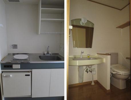 【画像8】小さなキッチンと大きな洗面トイレが各部屋に(写真撮影:藤井繁子)