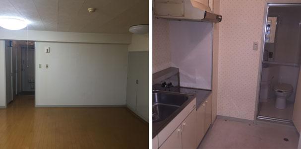 【画像2】(リノベーション前)壁で囲まれていたキッチンとトイレ&浴室。室内の仕切りと壁を解体し水まわりの位置も変更した(画像提供/Tさん)