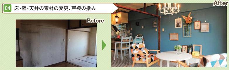 【画像1】DIY型賃貸借でできることのうち、(4)床・壁・天井の素材の変更、戸襖の撤去の例(出典:国土交通省作成ガイドブック「DIY型賃貸借のすすめ」より転載)