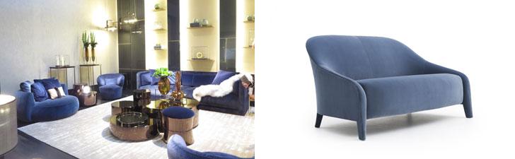 【画像1】左:FENDI CASA社、印象的な青にセンターテーブルのカラメル色が効いている(写真撮影/藤井繁子)。右:新作の「AUDREY」ソファはシンプル&ミニマルながら上品な優しさが漂う(写真提供/FENDI CASA)