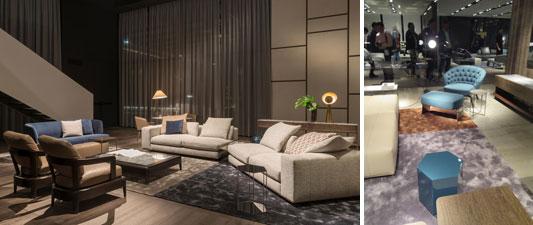 【画像4】Minotti社の新作ソファ「FREEMAN」等。パーソナルチェアーとiconのスツールには、今年のアクセントカラー