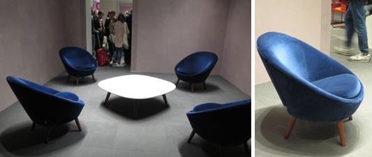 【画像5】doriade社で目に飛び込んだ美しい青のアームチェアー「Ten」は深澤直人氏デザイン。センターテーブルは「Ci」と名付け、合わせて