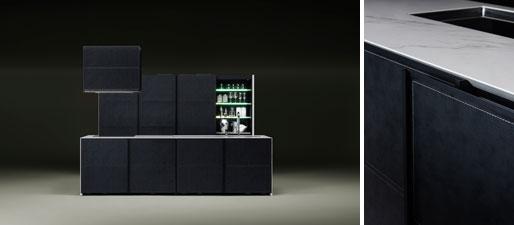 【画像19】「奏 KANADE」と名付けられたキッチン。ドア面材に日本製のビニールレザーを採用、抗菌・抗カビ・退色にも強い品質は日本の技術ならではとの自信。ブラック・グレー・キャメルの3色。想定価格23,000ユーロ:キッチン2980×950×900㎜(写真提供/sanwa company)