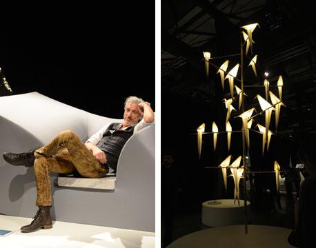 【画像7】ミラノ・トルトーナ地区での「moooi」。展示会場に現れた、共同創業者&デザイナーのMarcel Wanders。Lovely な小鳥の照明が今回私のお気に入り!(写真撮影/藤井繁子)