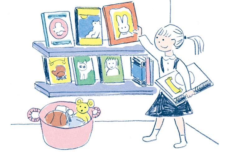 【画像1】表紙の絵が子どもの視界に入るような高さに本を置くスペースをつくり、表紙が見えるように本を並べよう(イラスト:須山奈津希)