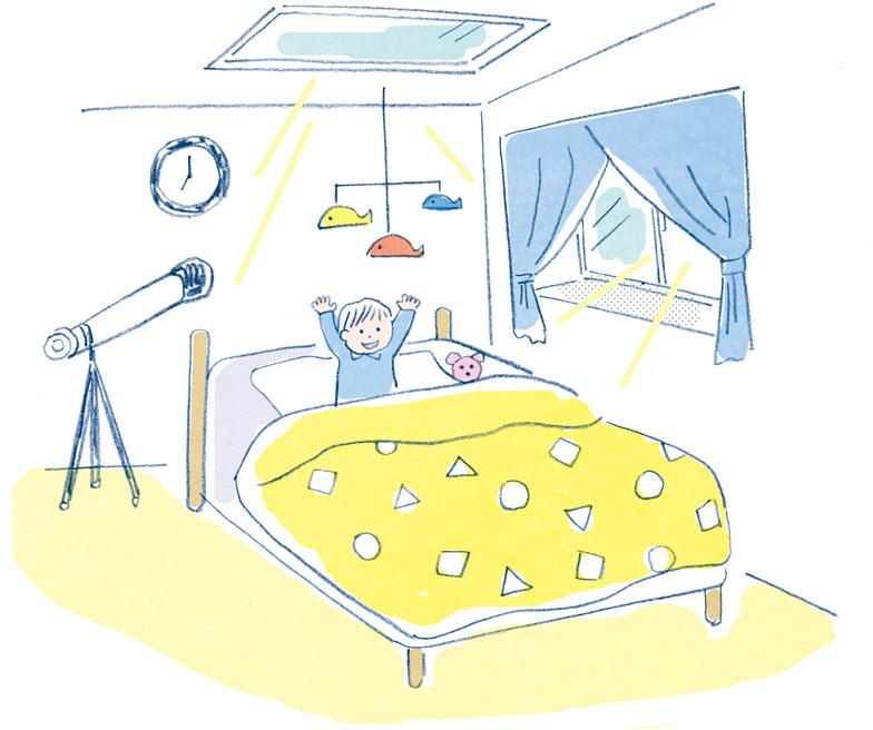 【画像3】カーテンをかける場合は、クロスオーバータイプなどにして窓をふさがないように。周りが明るくなって自然に目が覚める。これが理想の目覚め方だ(イラスト:須山奈津希)