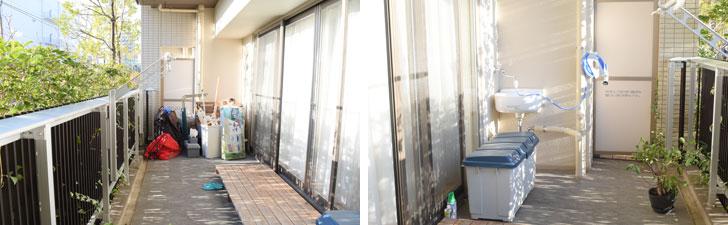 【画像7】アウトドアグッズやら掃除グッズがごちゃっと置いてあった。掃き出し窓のすぐ近くに置いていたのは、引越し前の部屋のベランダで使用していた「すのこ」(写真撮影/SUUMOジャーナル編集部)