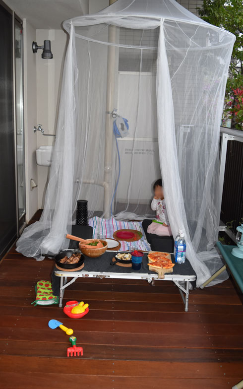【画像13】1階なので虫も多く、蚊帳をかけて防御(写真撮影/SUUMOジャーナル編集部)