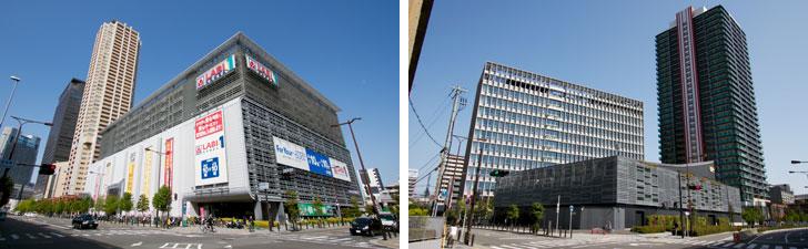 【画像3】なんばパークスから続く再開発エリアには大型家電量販店(左)や、ライブハウス「Zeppなんば大阪」やタワーマンション、オフィスビルなどが立ち並ぶ近代的な街並みが広がっている(右)(写真撮影/井村幸治)