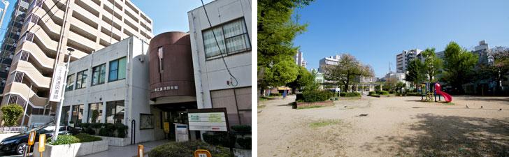 【画像10】マンション街の一画にある大阪市立浪速図書館(左) 敷津西1丁目にある鴎町公園(右)(写真撮影/井村幸治)