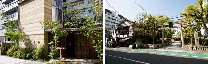 【画像11】住宅街の合間にある隠れ家的な飲食店。夜、お邪魔したいものだ(左)北側へ向かうと難波八阪神社の鳥居がみえた(右)(写真撮影/井村幸治)
