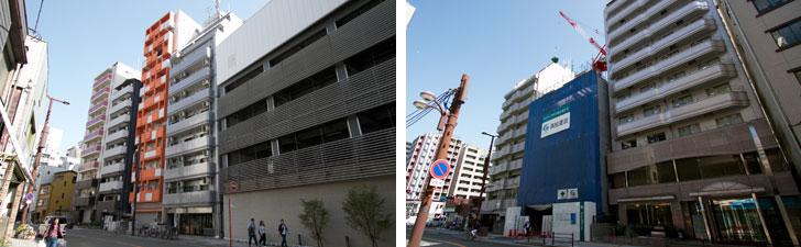 【画像13】少し北側の「元町」近辺には個性的なマンションが立ち並んでいる(左) 建設中のマンションも数多く見かけた(右)(写真撮影/井村幸治)