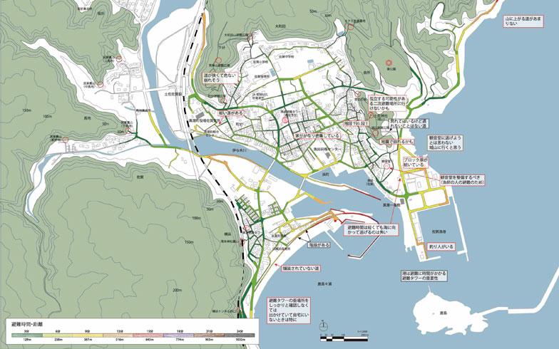 【画像6】高知県黒潮町佐賀地区で作成した地図を学生がPCで仕上げたもの。コメントが重要なことが分かる(画像提供:明治大学山本研究室)