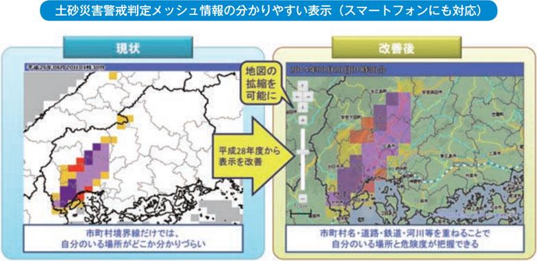 【画像2】土砂災害警戒判定メッシュ情報の分かりやすい表示(出典:気象庁「気象業務はいま2016」より転載)