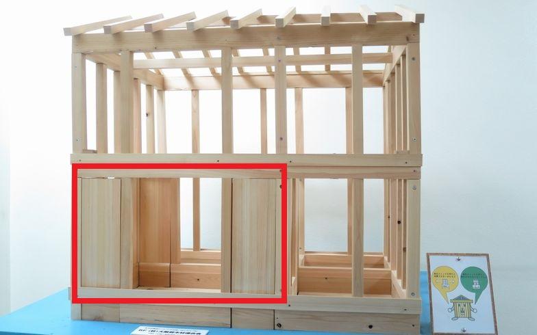 【画像1】壁柱の模型。赤で囲った部屋が耐震壁で補強されている(写真撮影:コハマジュンイチ)