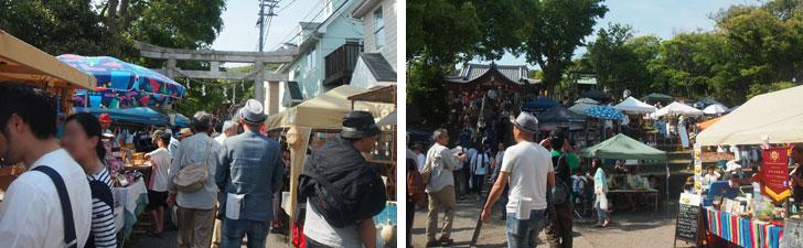 【画像1】左:境内の参道には道の両脇に手づくりの雑貨やアート作品のブースが並ぶ 右:境内にはオーガニックフードの屋台村も(写真撮影:SUUMOジャーナル 編集部)