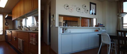 【画像2】リフォーム前のキッチン。吊り戸棚がシンクの上にあり、セミクローズドになっていた(写真提供:mayukoさん)