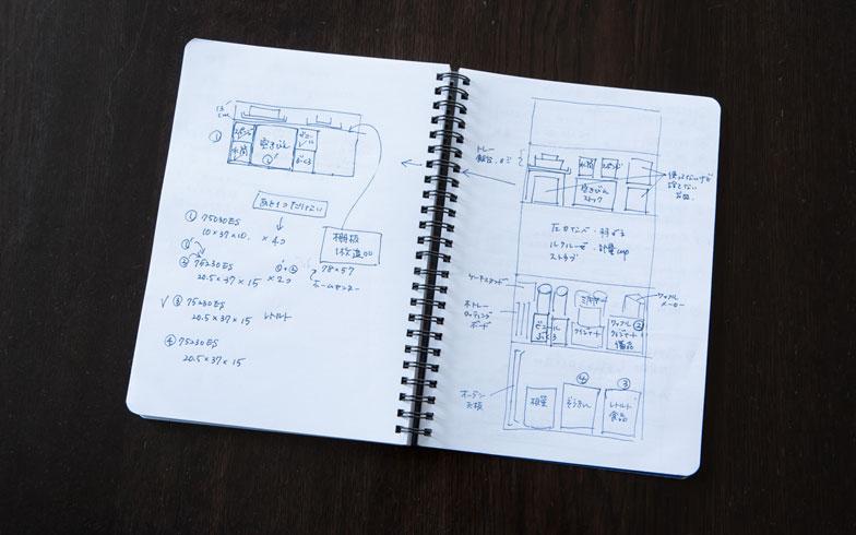 【画像6】どこに何を置くかを徹底的に考えたメモ。メモをとることによって、棚板のサイズも決まった(撮影:片山貴博)