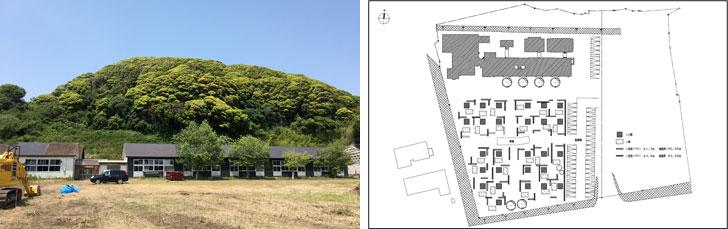 【画像2】左:南房総市白浜町にある旧長尾小学校。こちらの校庭に無印良品の週末宿泊小屋が誕生する。右:「シラハマ校舎」全体計画図(写真提供:ウッド)