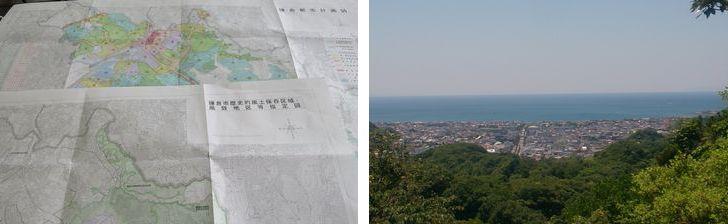 【画像1】左:全国共通の「都市計画図」と鎌倉独自の「歴史的風土保存区域・風致地区等指定図」。市のホームページでも同じ情報を確認することができる。右:三方を山、正面を海に囲まれた古都鎌倉。高い建物がない街並み(写真撮影:長井純子)