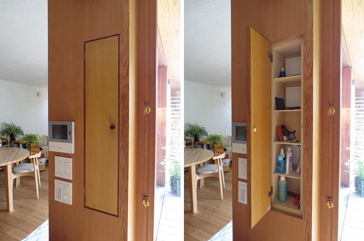 【画像1】出かけるときについ忘れがちな鍵。柱脇を利用して、玄関に置き場所をつくっておくと便利だ(写真提供:新井アトリエ一級建築士事務所)