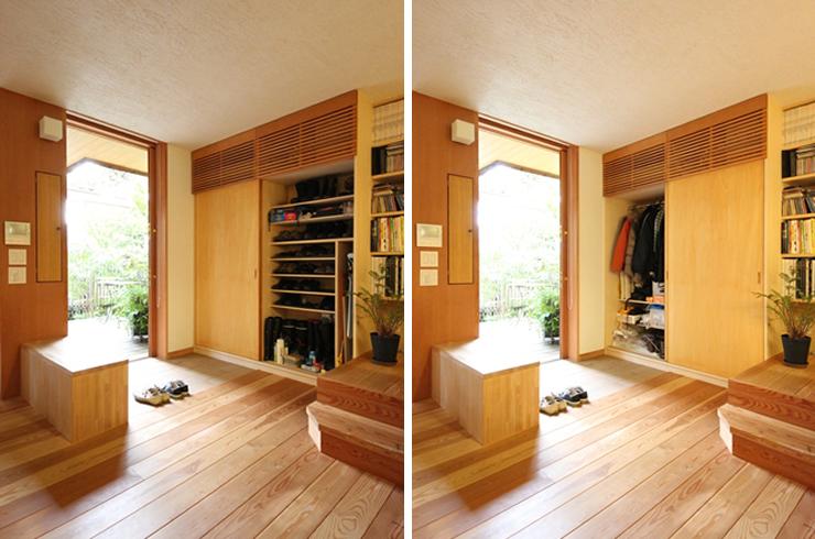 【画像2】外出時に着るコートなどを玄関に収納できると、外出の準備がラクになる(写真提供:新井アトリエ一級建築士事務所)