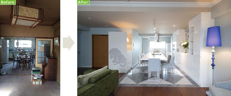 【画像2】写真左:手前が2間続きの和室、正面がDKエリア。写真右:廊下部分も全て取り払い、約30畳の大空間LDKに!(写真撮影/本美安浩)