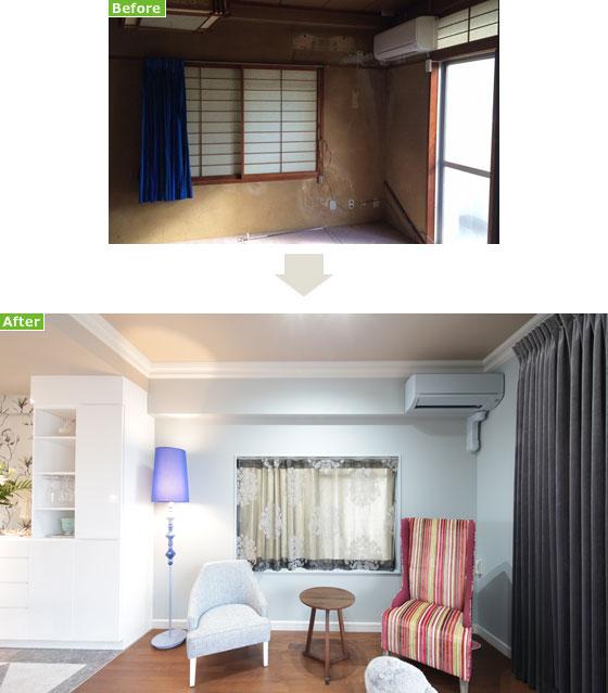 【画像10】貴重な布を張地に使ったオリジナルのパーソナルチェア。壁色と同じ色に塗装したエアコン、このアイデアは使える!(写真撮影/本美安浩)