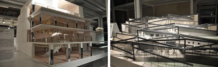 【画像6・7】今、日本で一番、注目されている建築家・隈研吾氏の作品。左は観光名所にもなっている「TOYAMAキラリ」。右は「中国美術学院民芸博物館」。一つひとつの模型に途方も無い労力が費やされている……(写真撮影/嘉屋恭子)