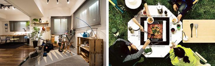 【画像8】左:イニシア朝霞本町の土間スペースのイメージ。多用途で便利な空間。右:5タイプの中からもらえる野遊びサポートパックの一例「近隣公園BBQデビューセット」のイメージ(写真提供/コスモスイニシア)