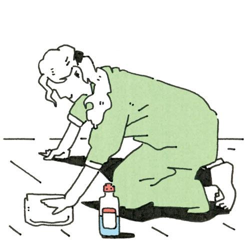 【画像2】ぬるま湯またはベンジンで拭く(イラスト/水谷慶大)