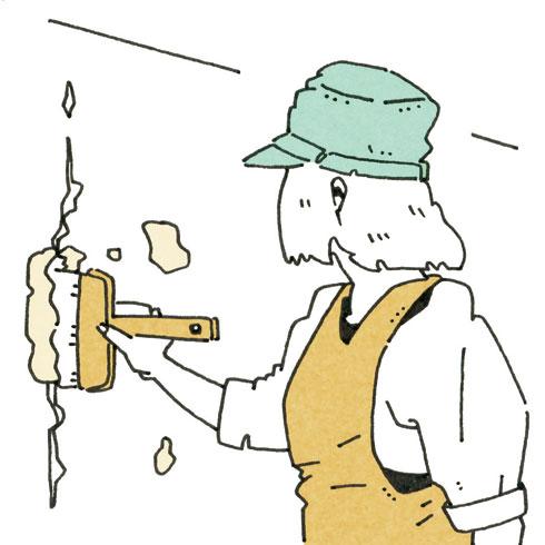 【画像6】元の材料を水で溶きハケなどで埋める(イラスト/水谷慶大)