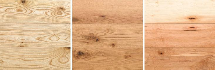 【画像7】フローリング材はMUJIオリジナルの個性的な木素材がそろう。写真は、自然な粗い風合いを出した「ラスティック」シリーズ。樹種は左から、セン・オーク・メープル(写真/MUJI HOUSE)