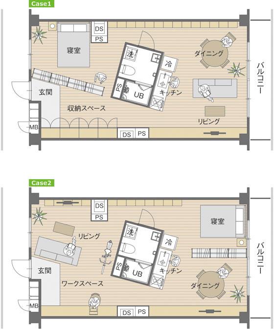 【画像11】画像8の状態から家具や間仕切り収納の配置を変えると、また違った暮らし方が生まれる(写真/MUJI HOUSE)