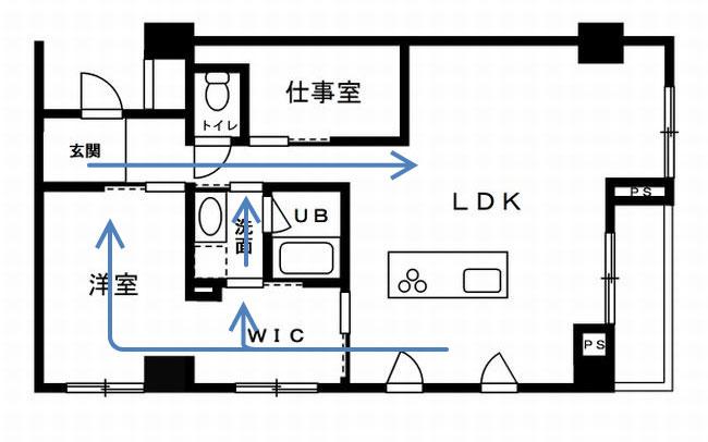 【画像7】キッチンからクローゼットや洗面所、洋室への回遊動線
