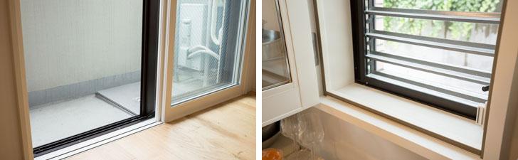【画像12】写真左:バルコニーへの掃き出し窓・写真右:キッチンのルーバー窓にも樹脂製インナーサッシと複層ガラスで、トリプルサッシ並みの高断熱(写真撮影/片山貴博)