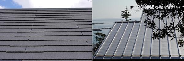 【画像1】左:スレート葺き屋根、右:ガルバリウム鋼板の屋根(写真/PIXTA)