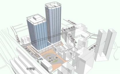 【画像3】中野二丁目地区再開発イメージ図(資料提供/中野区)