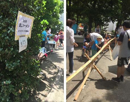 【画像3】メイフェアパークス溝の口の自治会青年部は流しそうめんを企画。子どもはもちろん、お年寄りからも大好評だった(写真撮影/上島寿子)