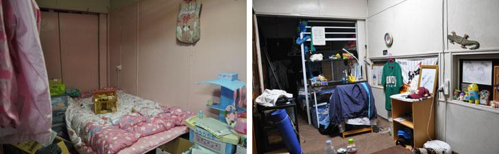 【画像8】2階の子ども部屋。もともとは社員たちが寝泊まりする用の部屋だったが、今は子供たちの部屋に。娘の部屋はピンク色に塗り、息子の部屋は白く塗ったそう(写真撮影/嘉屋恭子)